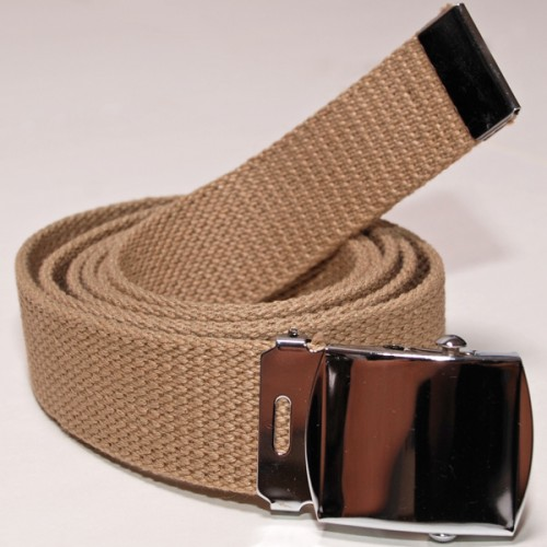 Long Casual Web Belt - Beige