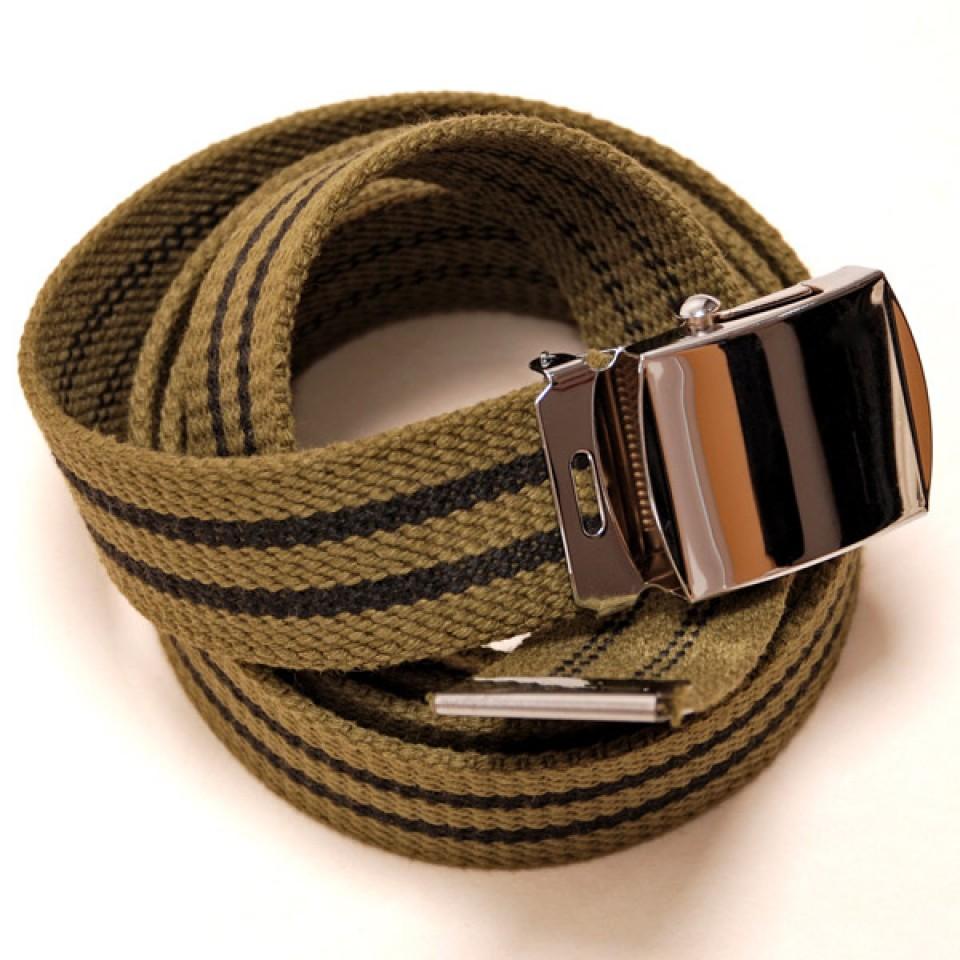 Long Casual Web Belt - Green/Black