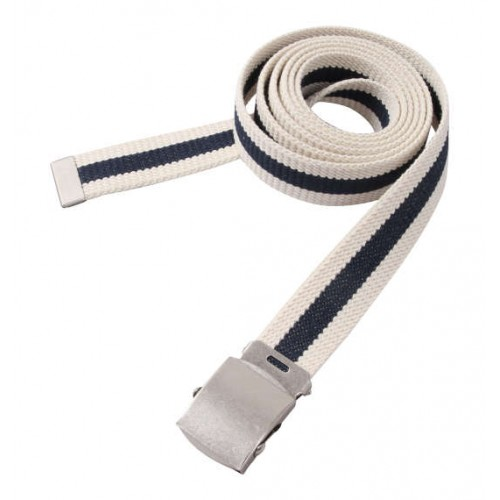 Extra Long Canvas Belt - White/Navy