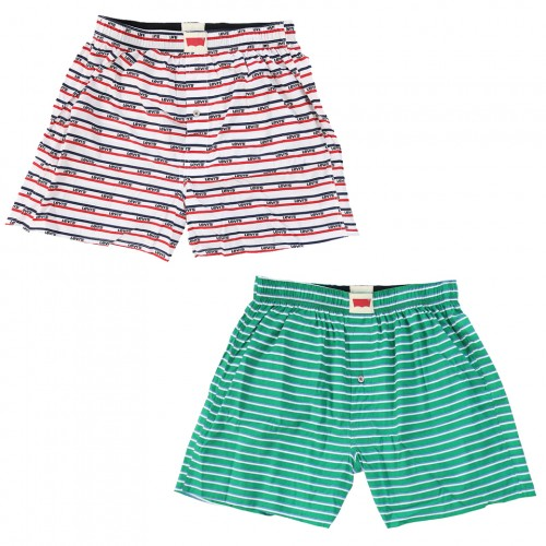 Stripe Pattern Boxer Set - White/Green