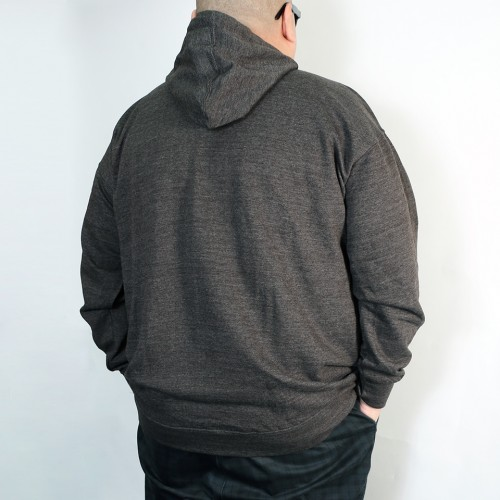 Script Printed Logo Pullover Hoodie - Charcoal