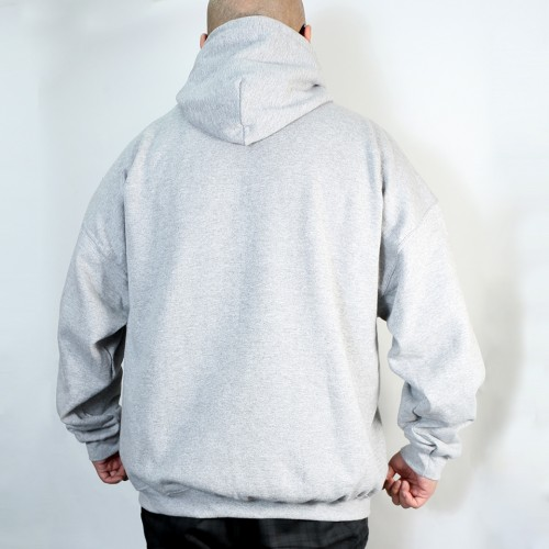 Script Printed Logo Pullover Hoodie - Grey