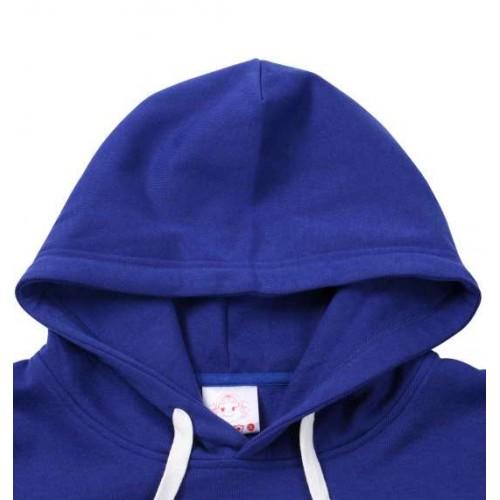 Peko Print Fleece Hoodie - Blue