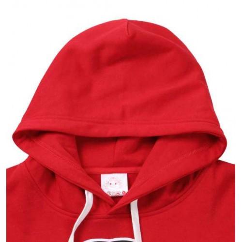 Peko Print Fleece Hoodie - Red