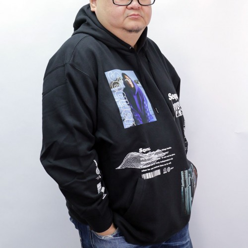 Photo Collage Pullover Hoodie - Black