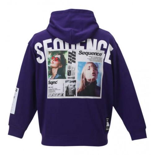 Photo Print Pullover Hoodie - Purple