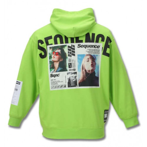Photo Print Pullover Hoodie - Lime Green