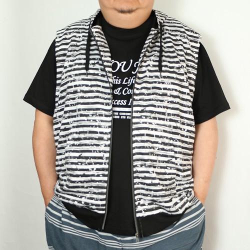 Summer Cotton Zip Vest - Black/White Stripe