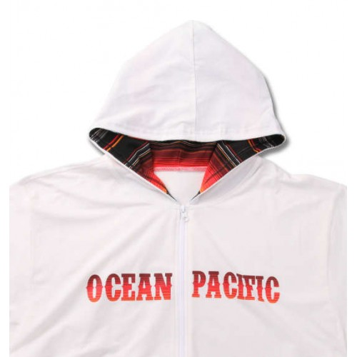 Zip Parka Short Sleeve Rash Guard - White