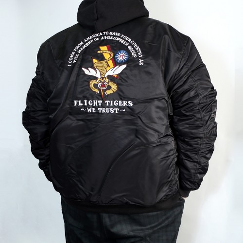 Patched Tiger MA-1 Flight Jacket - Black