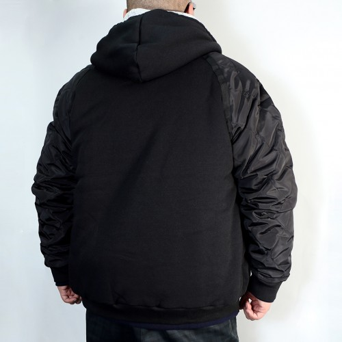Nylon Sleeve Quilted Jacket - Black