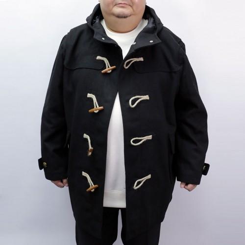 Solid Wool Lightweight Duffle Coat - Black