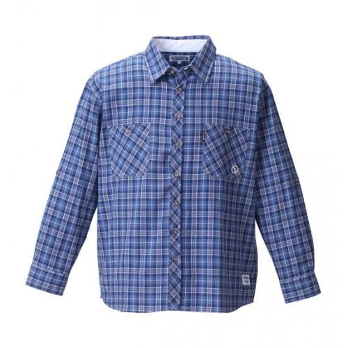 Roll Up Long Sleeved Check Shirt - Navy