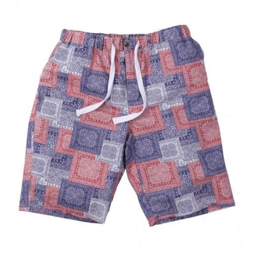 Ripple Bandana Pattern Half Pants - Navy/Red