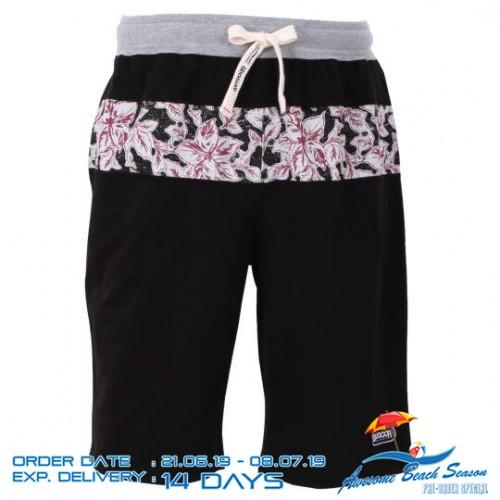 Flower Pattern Relaxing Shorts - Black