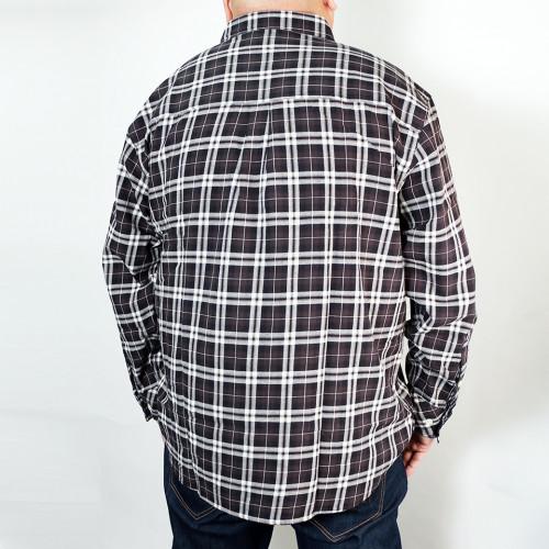 Long Sleeve Plaid Button Down - Black/White