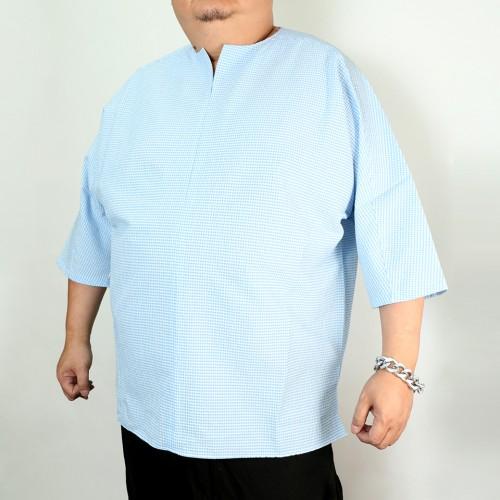 Seeksucker Hippie Shirt - Blue Plaid
