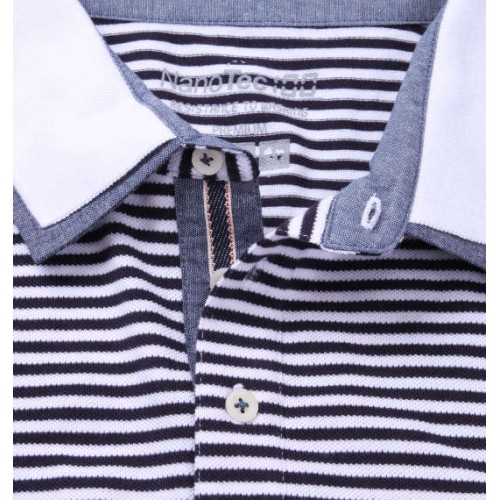 鹿の子 Polo - Black/White Stripe