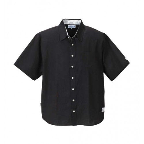 Cotton Linen Short Sleeve Shirt - Black
