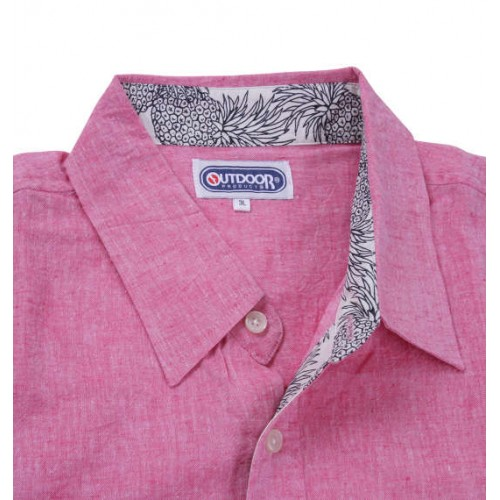 Cotton Linen Short Sleeve Shirt - Pink