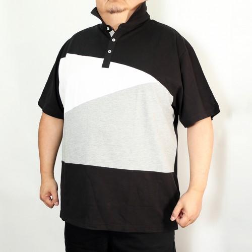 Asymmetrical Bias Design Polo Shirt - Black