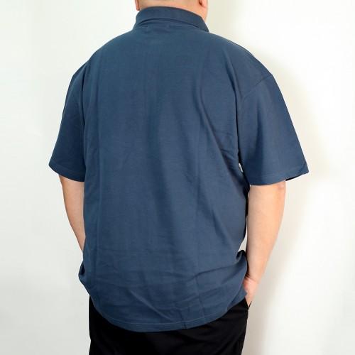 Asymmetrical Bias Design Polo Shirt - Blue