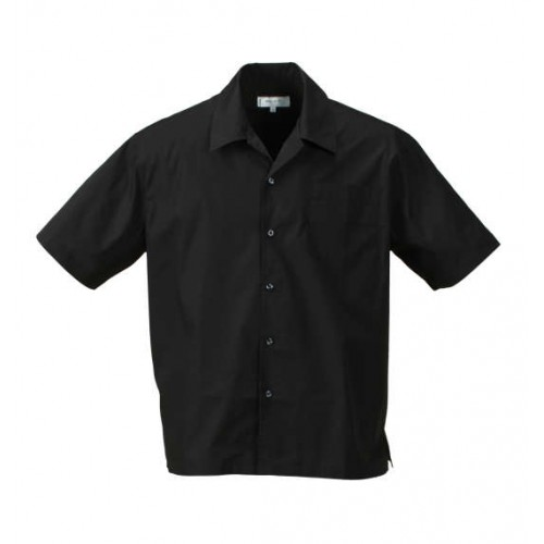 Plain Colour Short Sleeve Collar Shirt - Black