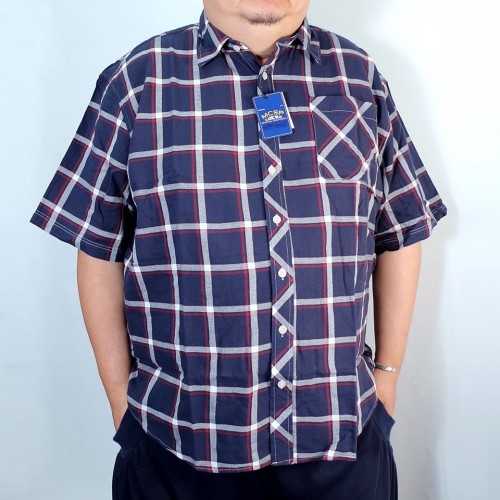Breathable Panama Check Shirt - Navy