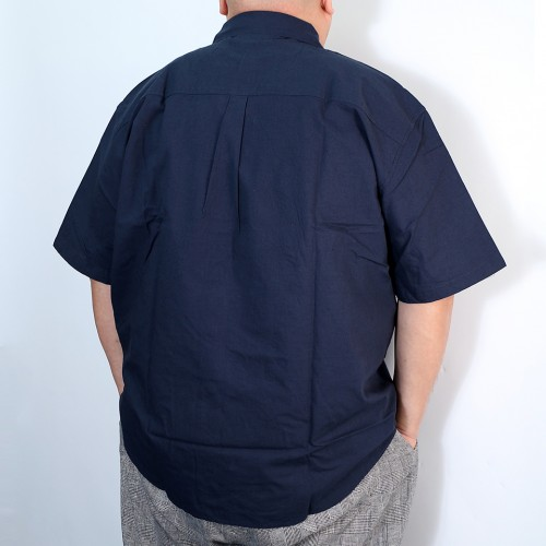 Plain Color Check Cuffs Shirt - Navy