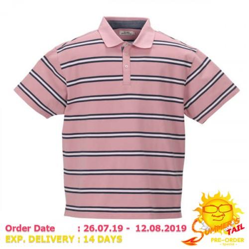 鹿の子 Border Pattern Polo Shirt - Pink
