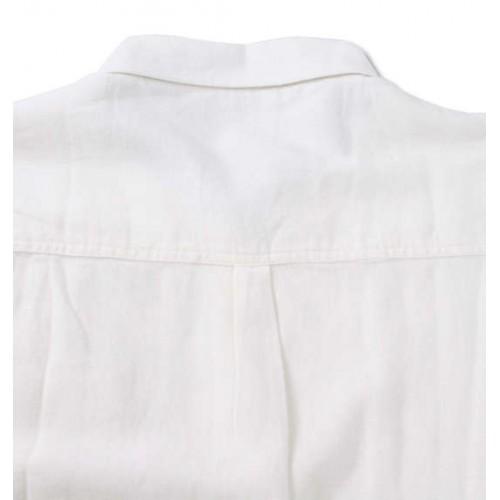 Check Pattern Elbow Patch L/S Shirt - White