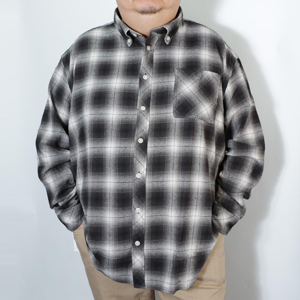 Plaid Check Pattern B.D. Shirt - Black/White