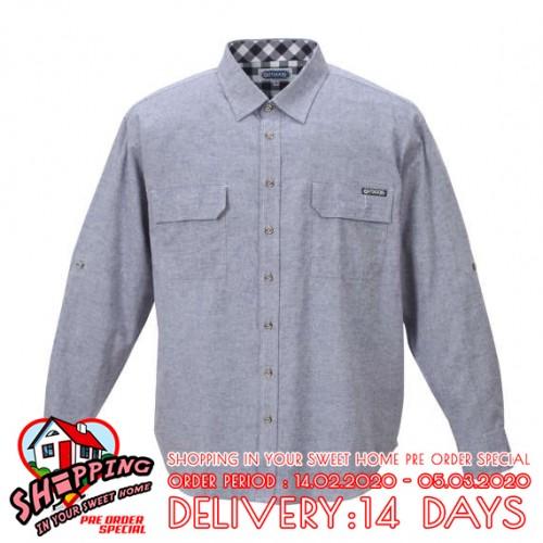 Cotton Linen Roll-up L/S Shirt - Navy