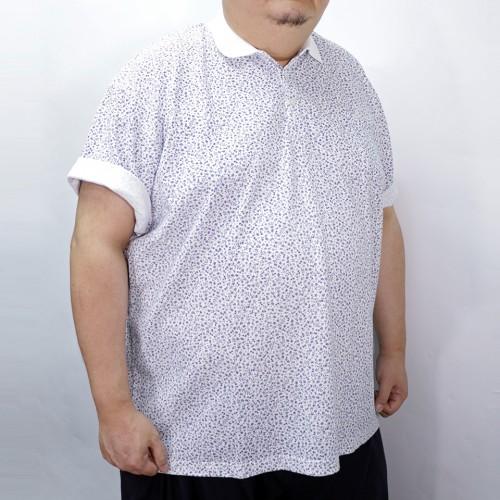 Flower Pattern Polo Shirt - White