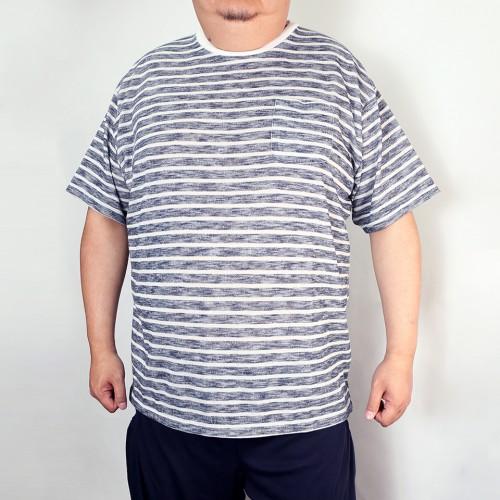 Slub Pocket Tee - Navy/White Stripe