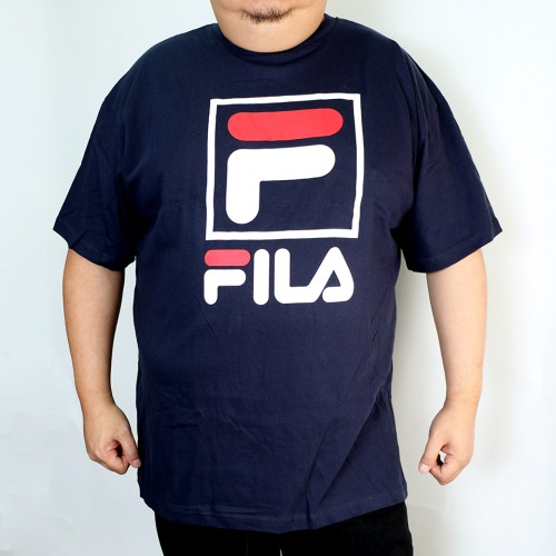 W/Square Fox Fila Tee - Navy