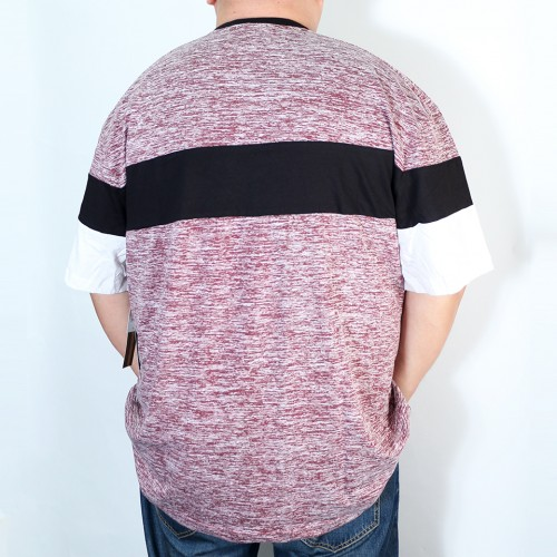 Colorblock Henley Tee - Red