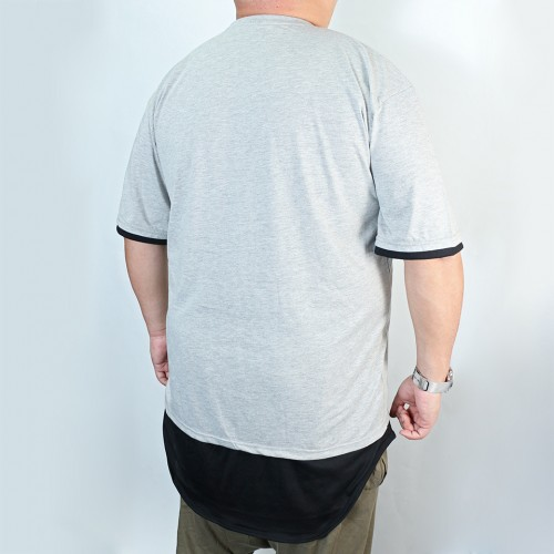 Round Bottom Contrast Tee - Grey