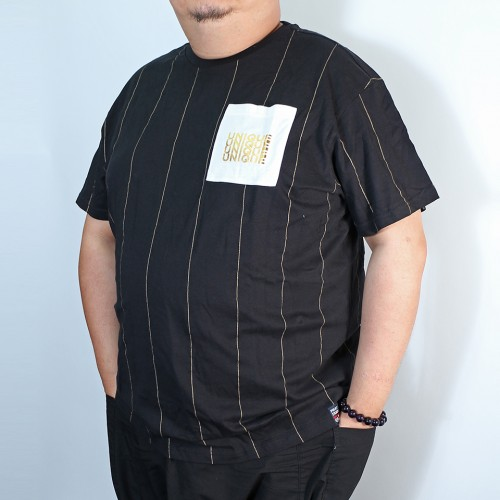 Printed Foil Stripe Pocket Tee - Black