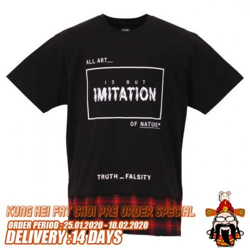 Check Pattern Flannel Shirt Style Long Hem Tee - Black