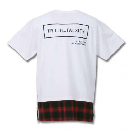 Check Pattern Flannel Shirt Style Long Hem Tee - White