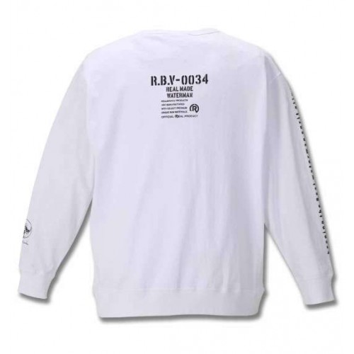 Simple Ribbed Embroidery L/S Tee - White