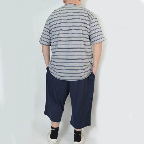 Stripe Pocket Tee Set - Grey/Navy