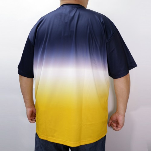 Dry Mesh Gradient Design Tee - Navy/Yellow