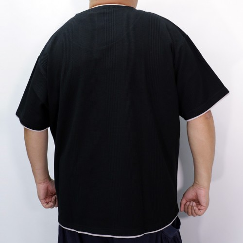 Fake Ray Yard Henry Neck Tee - Black