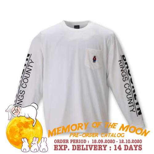 Bear Embroidered L/S Pocket Tee - White